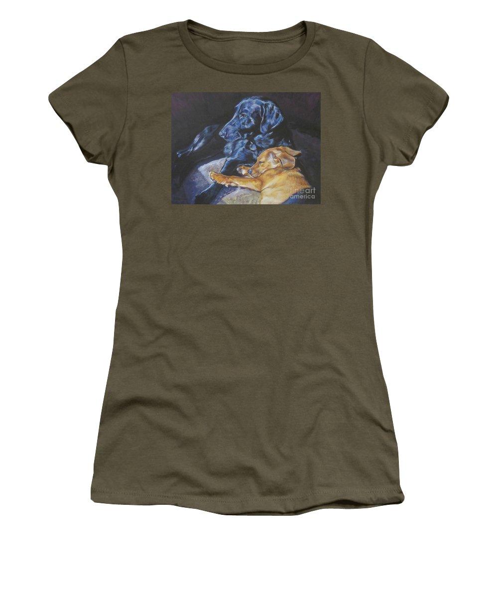 Labrador Retriever Women's T-Shirt featuring the painting Labrador Love by Lee Ann Shepard