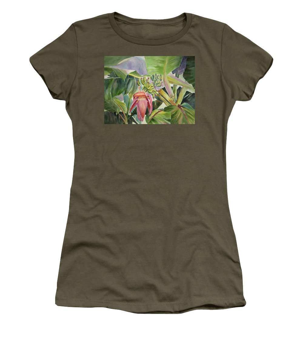 Banana Tree Women's T-Shirt (Athletic Fit) featuring the painting Lady Fingers - Banana Tree by Roxanne Tobaison