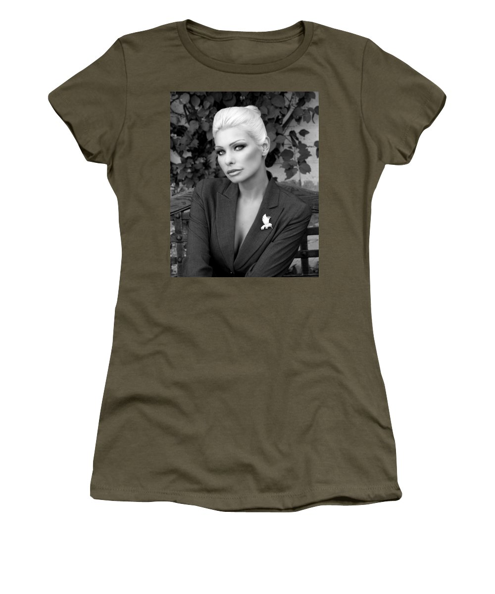 Blonde Women's T-Shirt featuring the photograph Lady Of Solitude Bw Palm Springs by William Dey