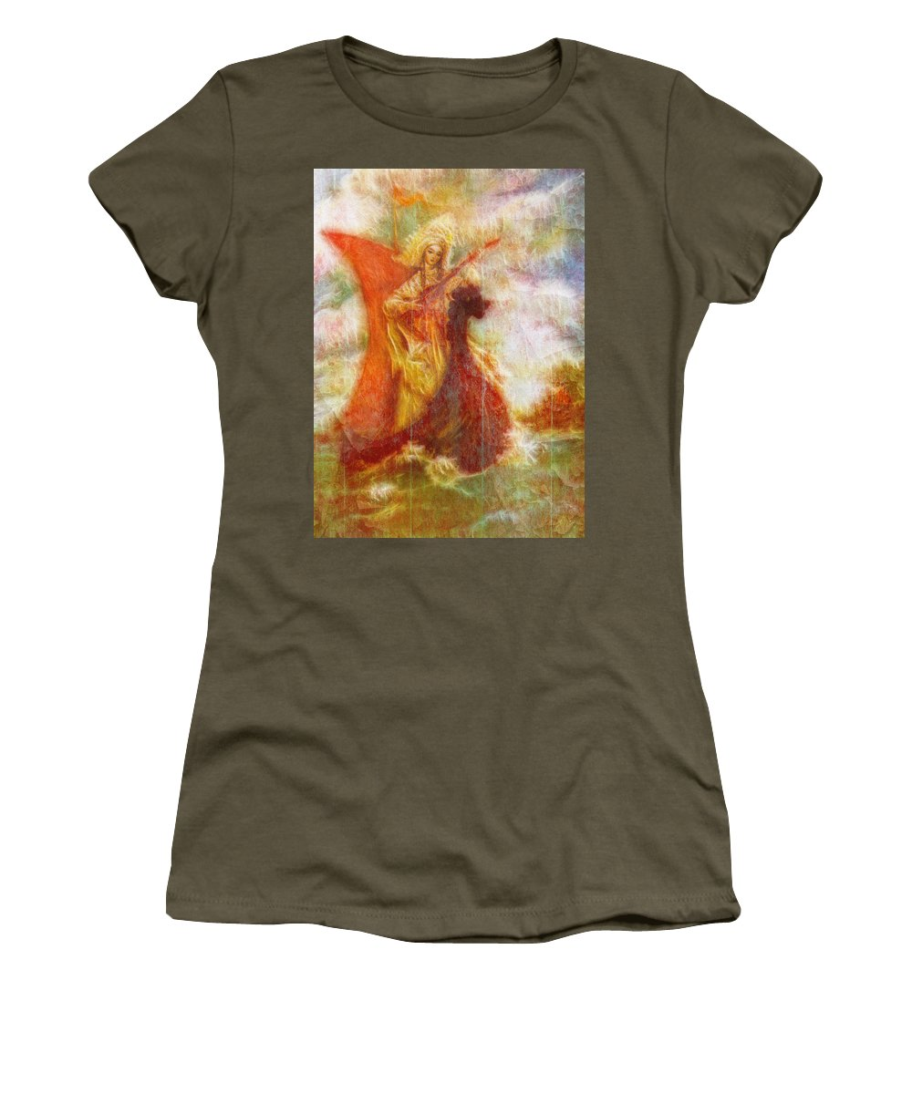 Vintage Women's T-Shirt featuring the photograph Lady On A Boat by Pati Photography