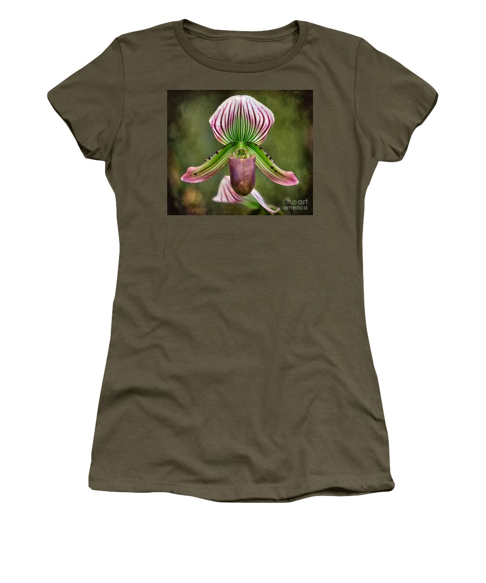 Hdr Women's T-Shirt featuring the photograph Ladys Slipper Orchid by Adrian Evans