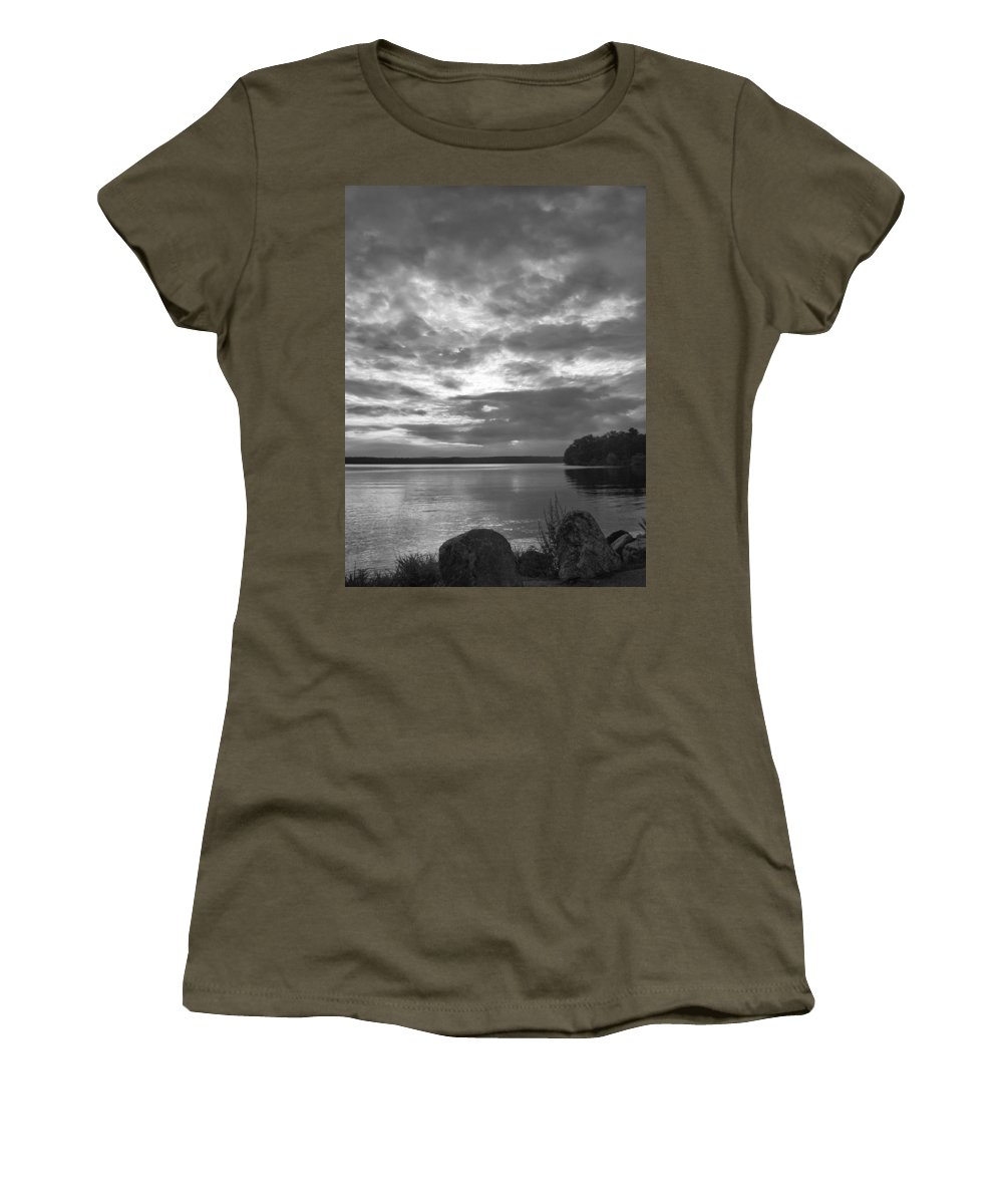 Body Of Water Women's T-Shirt featuring the photograph Lake Auburn 7p00297 by Guy Whiteley
