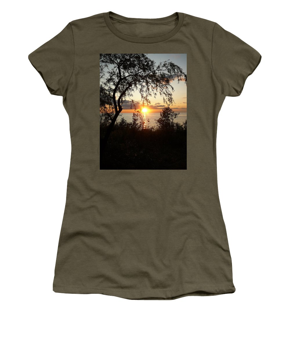 Sunset Women's T-Shirt featuring the photograph Lake Huron Setting Sun by Two Bridges North