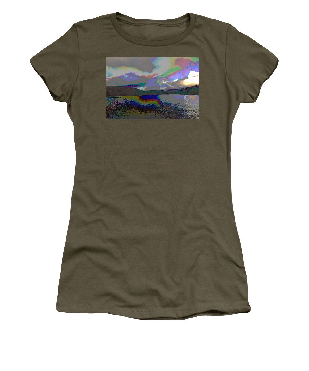 Lake Women's T-Shirt (Athletic Fit) featuring the mixed media Lake Land And Sky Digitally Painted Photograph Taken Around Poconos Welcome To The Pocono Mountains by Navin Joshi