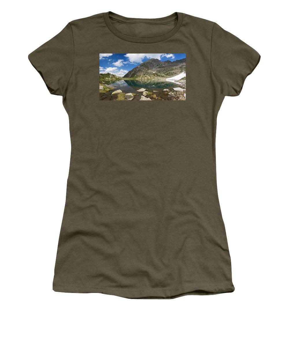 Alps Women's T-Shirt featuring the photograph Lake Piccolo - Val Di Sole by Antonio Scarpi