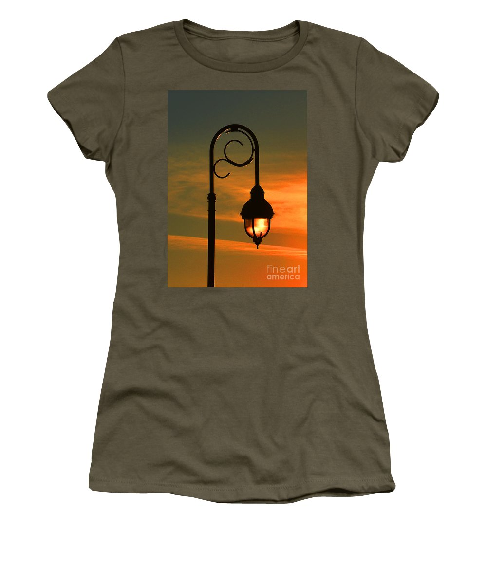 Lamp Post Glow Women's T-Shirt featuring the photograph Lamp Post Glow by Christine Dekkers