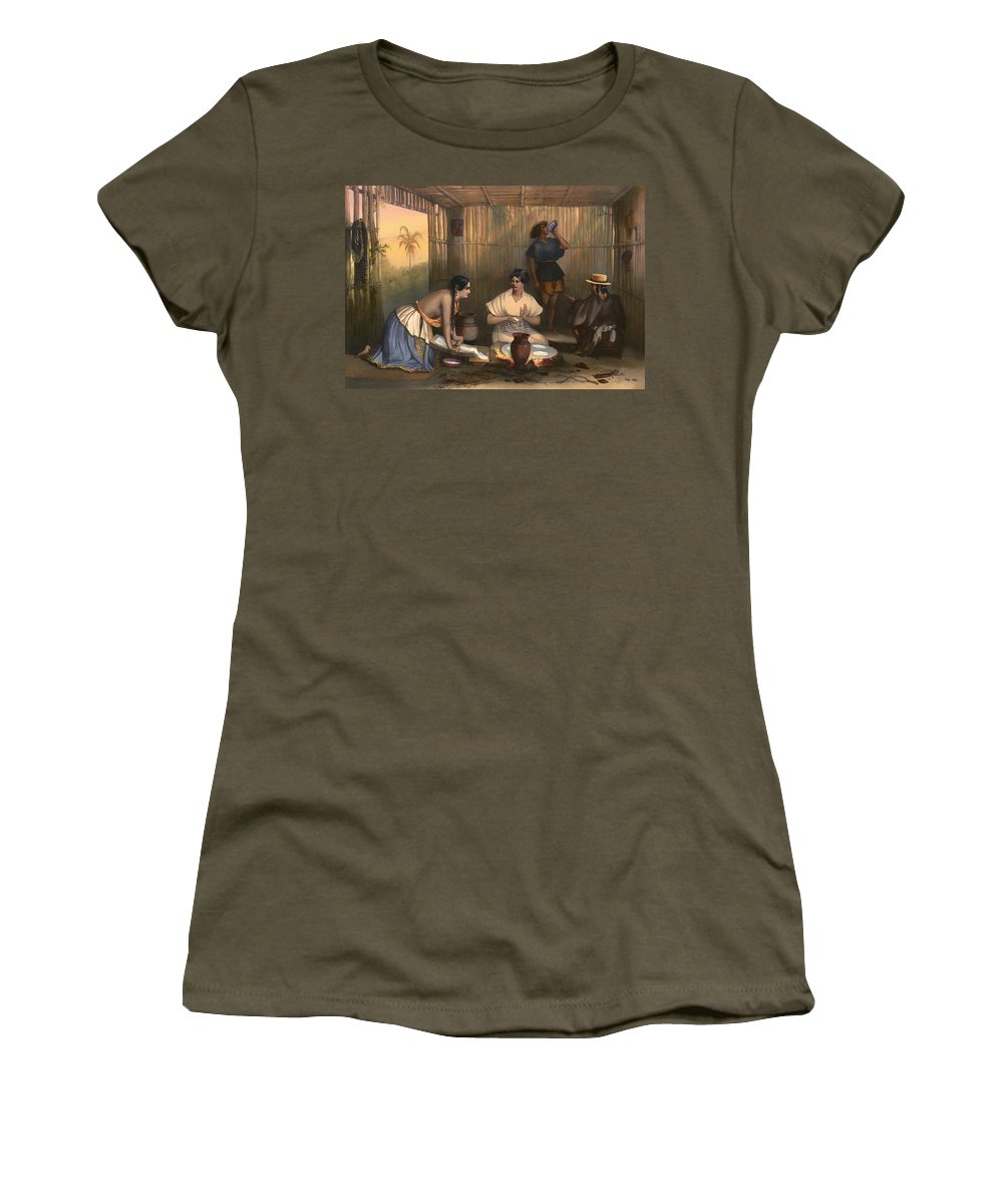 Lithograph Women's T-Shirt featuring the painting Las Tortilleras by Mountain Dreams