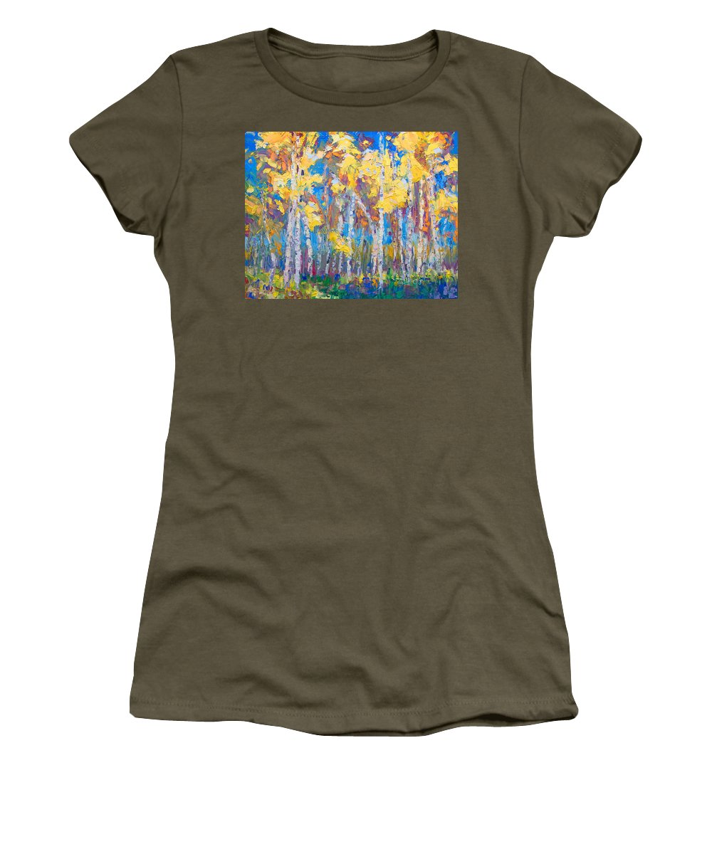 Tree Stand Women's T-Shirt featuring the painting Last Stand by Talya Johnson