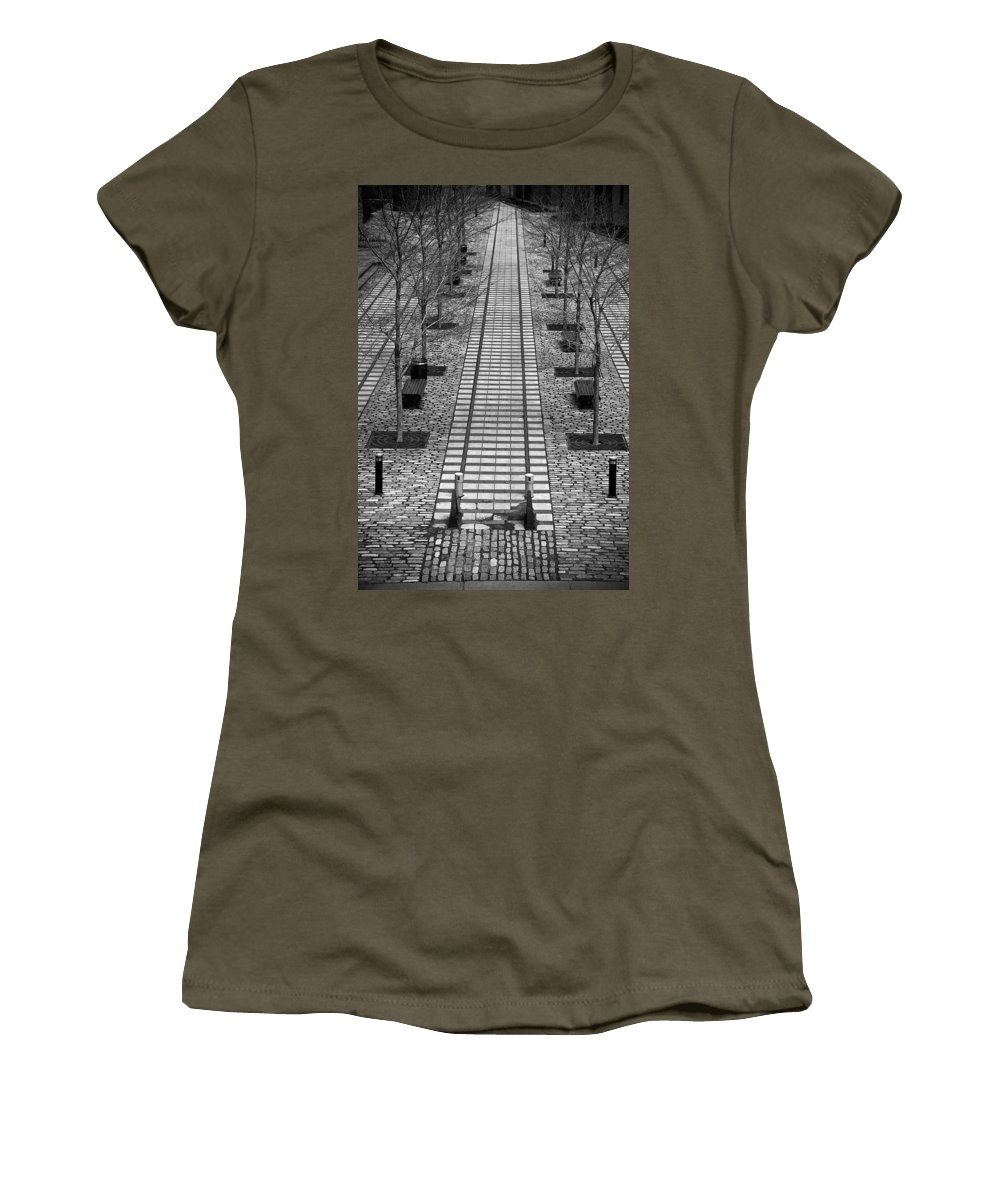 Railroad Tracks Women's T-Shirt (Athletic Fit) featuring the photograph Last Stop... by Les Lorek