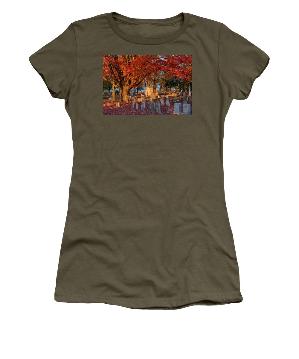 Autumn Foliage Women's T-Shirt featuring the photograph Late Afternoon Sun by Jeff Folger