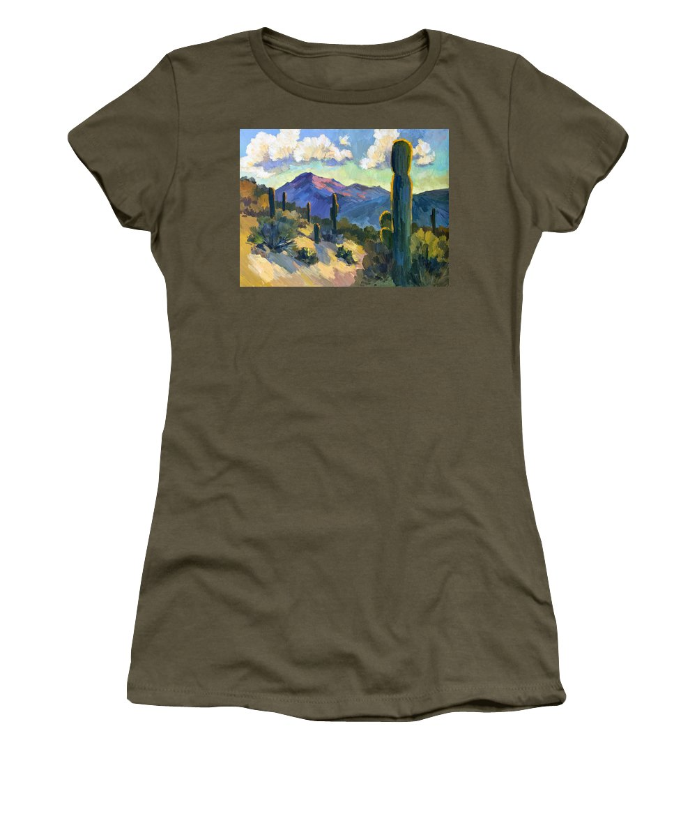 Late Afternoon Women's T-Shirt featuring the painting Late Afternoon Tucson by Diane McClary