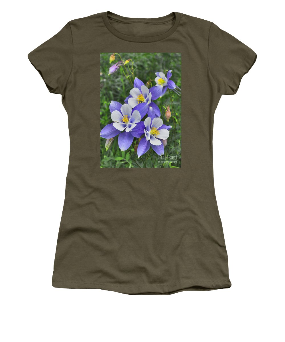 Lavender And White Columbine Flowers Women's T-Shirt featuring the digital art Lavender And White Star Flowers by Mae Wertz