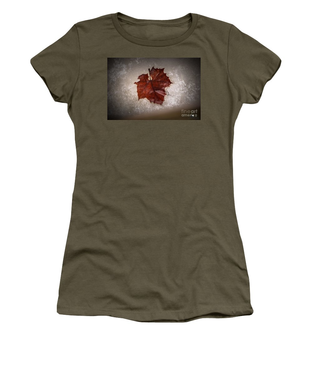 Leaf Women's T-Shirt (Athletic Fit) featuring the photograph Leaf In Snow by Grace Grogan