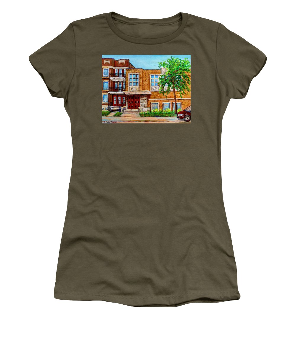 Montreal Women's T-Shirt (Athletic Fit) featuring the painting Legare And Hutchison Synagogue Montreal by Carole Spandau