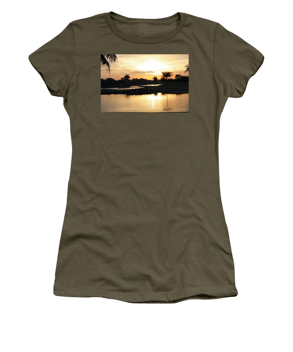 Naples Women's T-Shirt (Athletic Fit) featuring the photograph Lely Sunrise Over The Flamingo by Ronald Reid