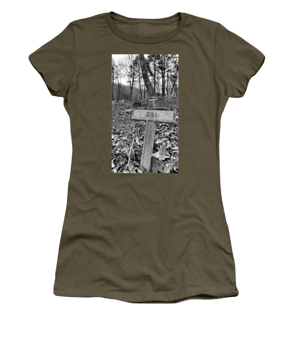 Grave Women's T-Shirt featuring the photograph Letchworth Hidden Deaths by Art Dingo
