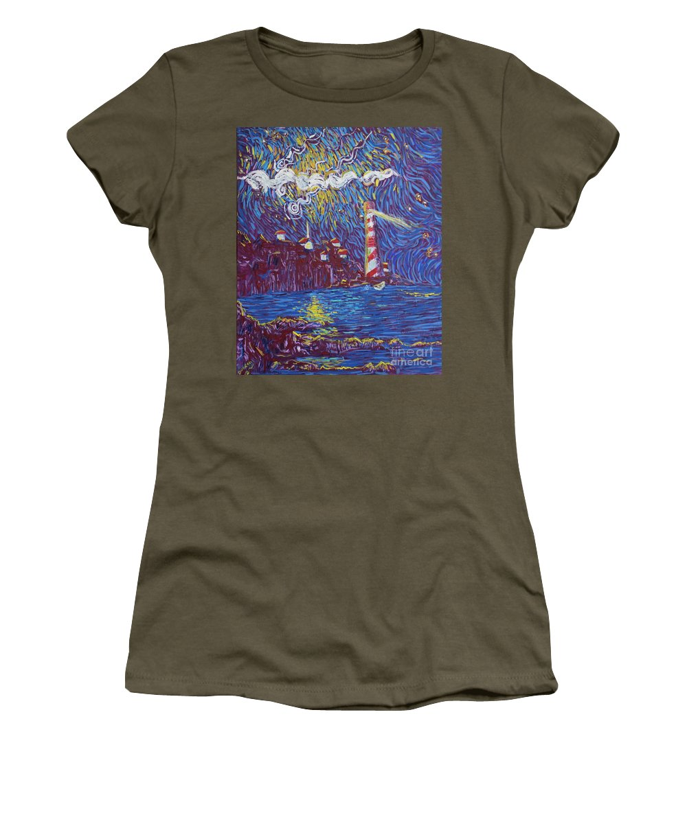 Landscape Women's T-Shirt (Athletic Fit) featuring the painting Light The Way by Stefan Duncan