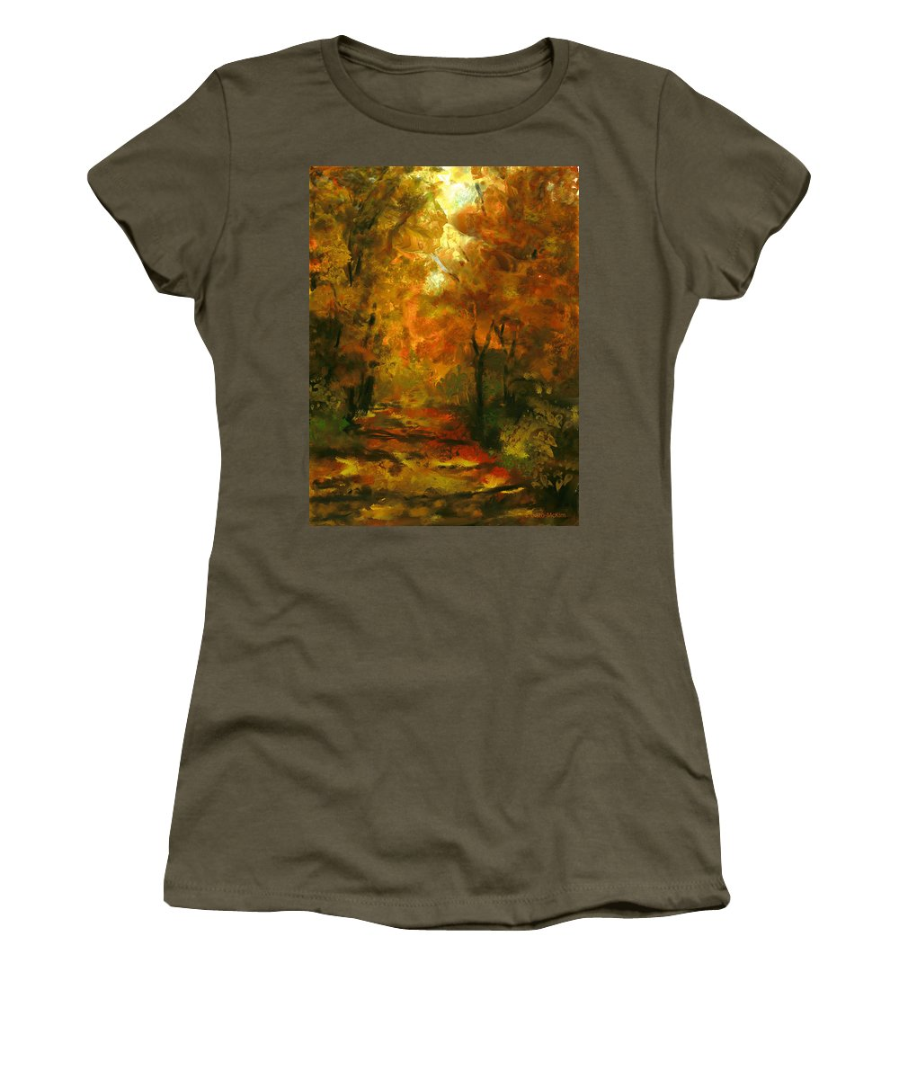 Sunny Women's T-Shirt featuring the digital art Lighted Trail by Jo-Anne Gazo-McKim