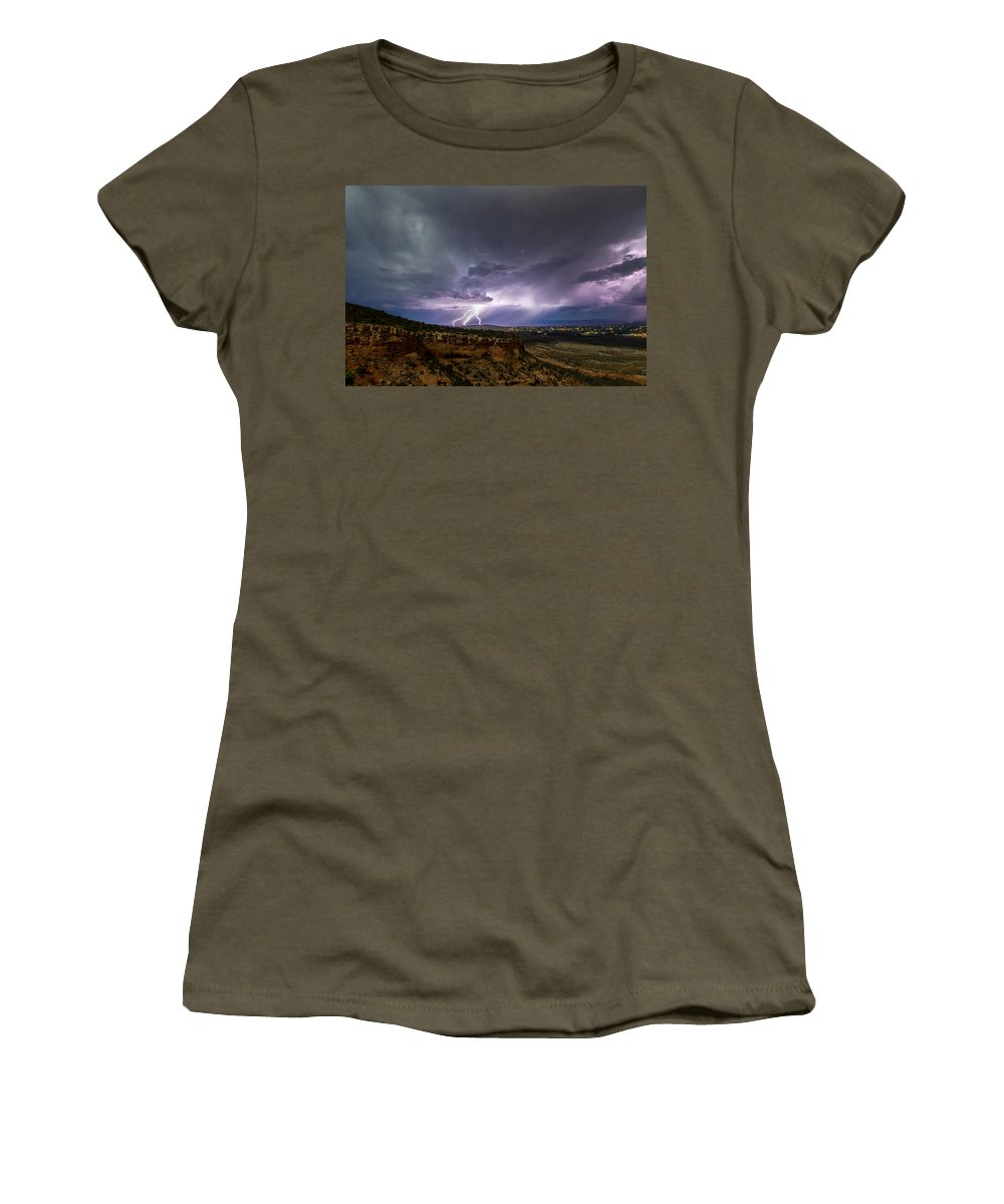 Lightning Women's T-Shirt featuring the photograph Lightning 32 by Jeff Stoddart