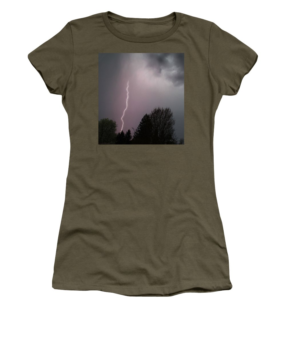 Lightning Women's T-Shirt (Athletic Fit) featuring the photograph Lightning Strike Over Grants Pass by Mick Anderson