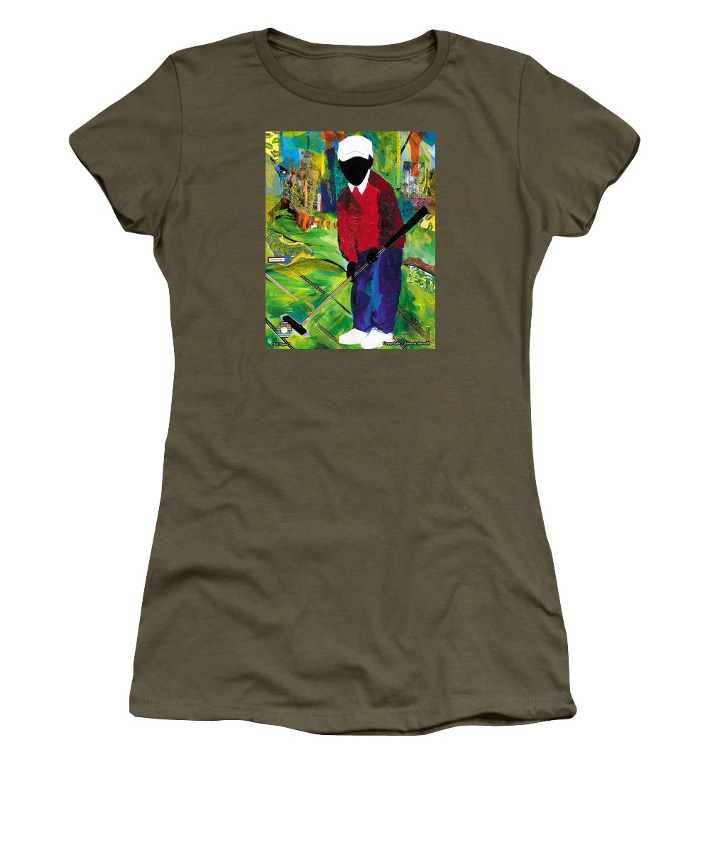 Everett Spruill Women's T-Shirt (Athletic Fit) featuring the painting Lil Tiger by Everett Spruill