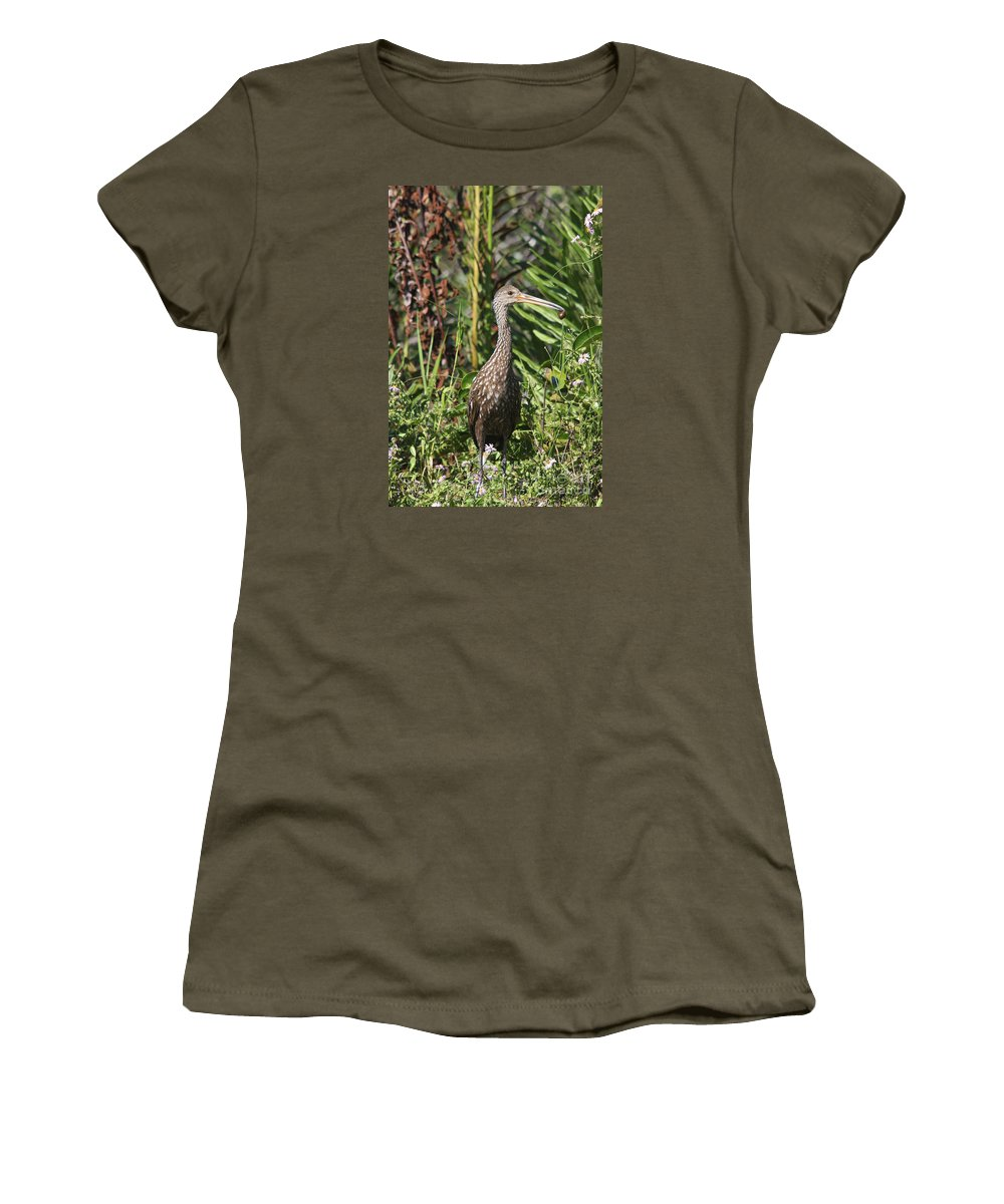 Limpkin Women's T-Shirt featuring the photograph Limpkin With An Apple Snail by Christiane Schulze Art And Photography