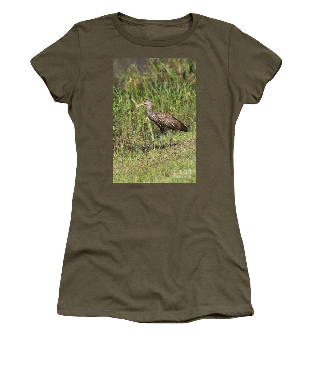 Limpkin Women's T-Shirt featuring the photograph Limpkin With Apple Snail by Christiane Schulze Art And Photography