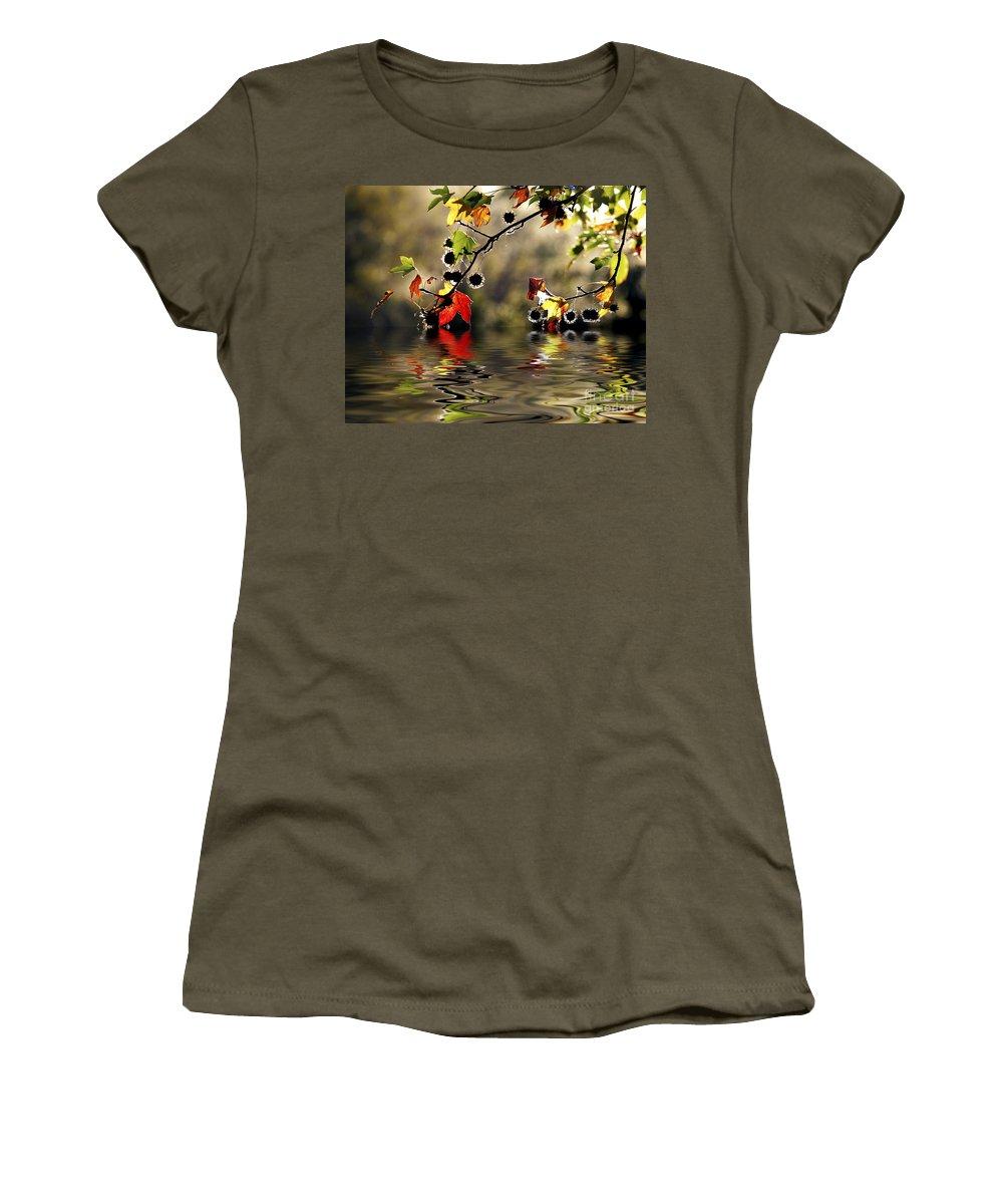 Liquidambar Maple Autumn Fall Flood Water Reflection Women's T-Shirt featuring the photograph Liquidambar In Flood by Sheila Smart Fine Art Photography