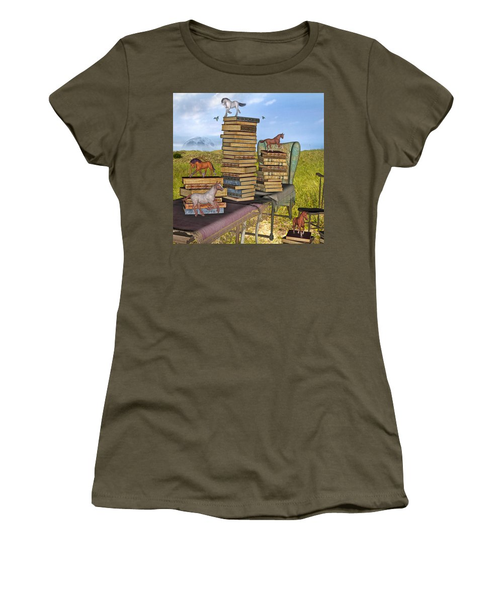 Library Women's T-Shirt featuring the mixed media Literary Levels by Betsy Knapp