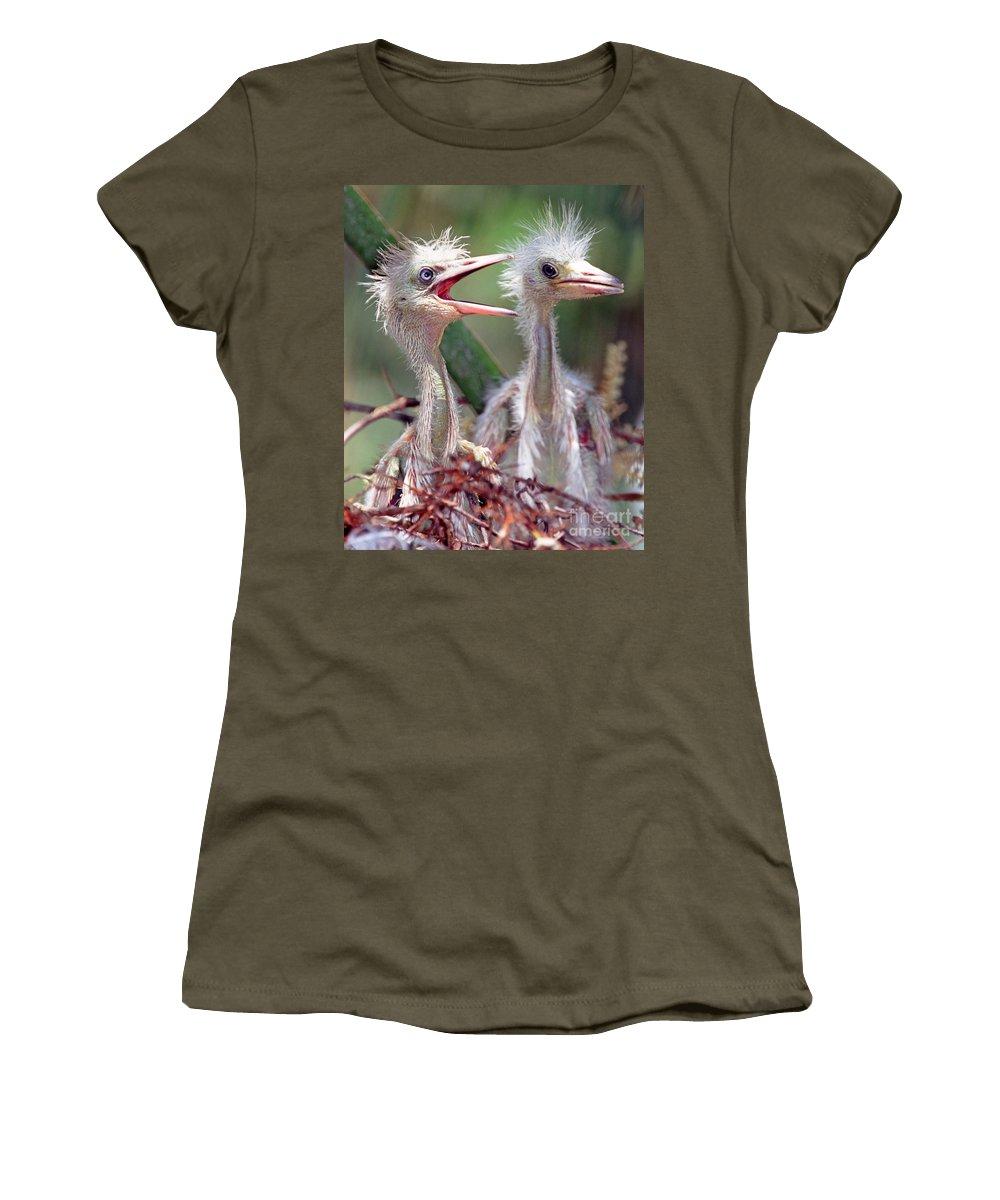 Animal Women's T-Shirt featuring the photograph Little Blue Heron Egretta Caerulea by Millard H. Sharp
