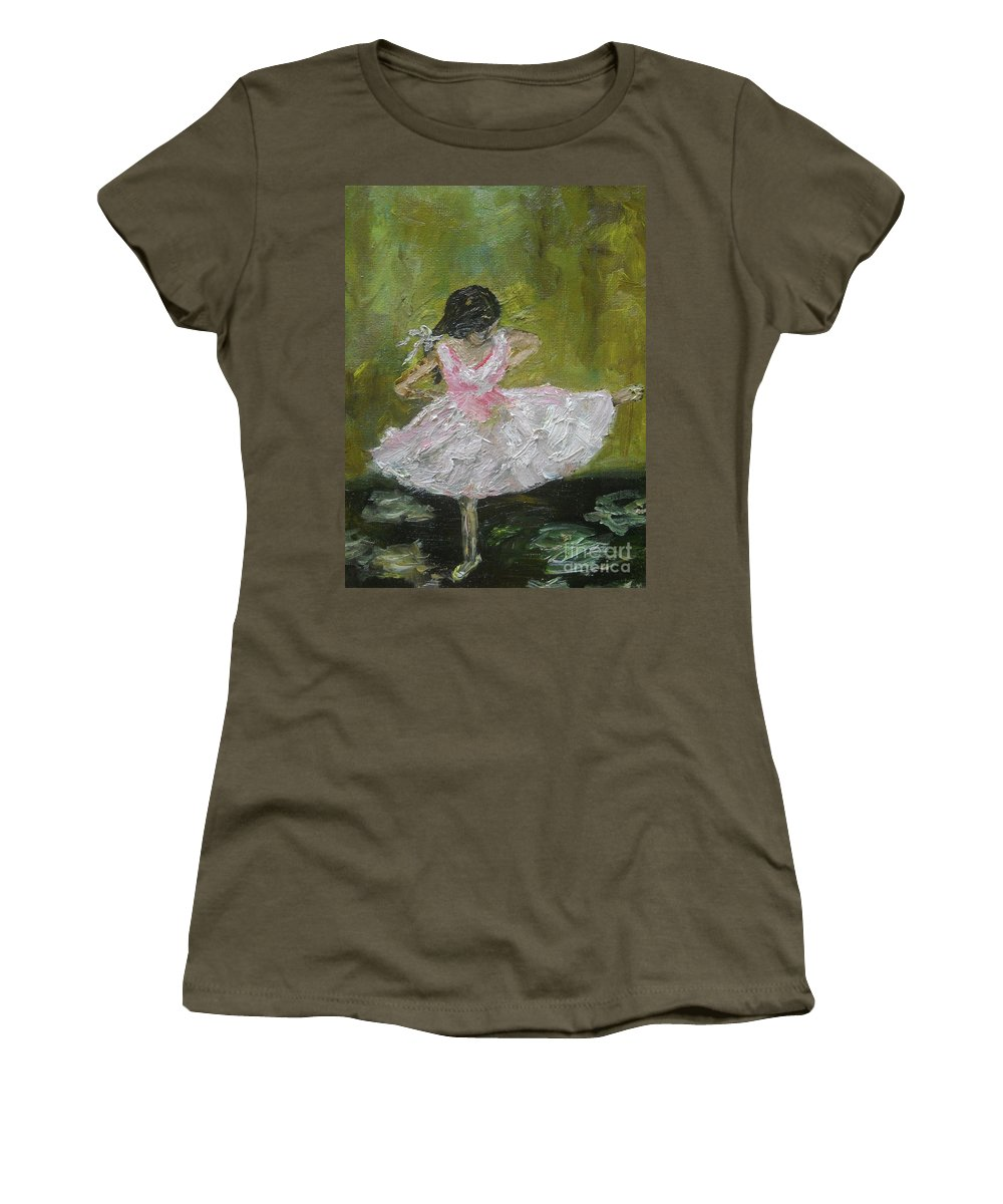 Girl Women's T-Shirt (Athletic Fit) featuring the painting Little Dansarina by Reina Resto
