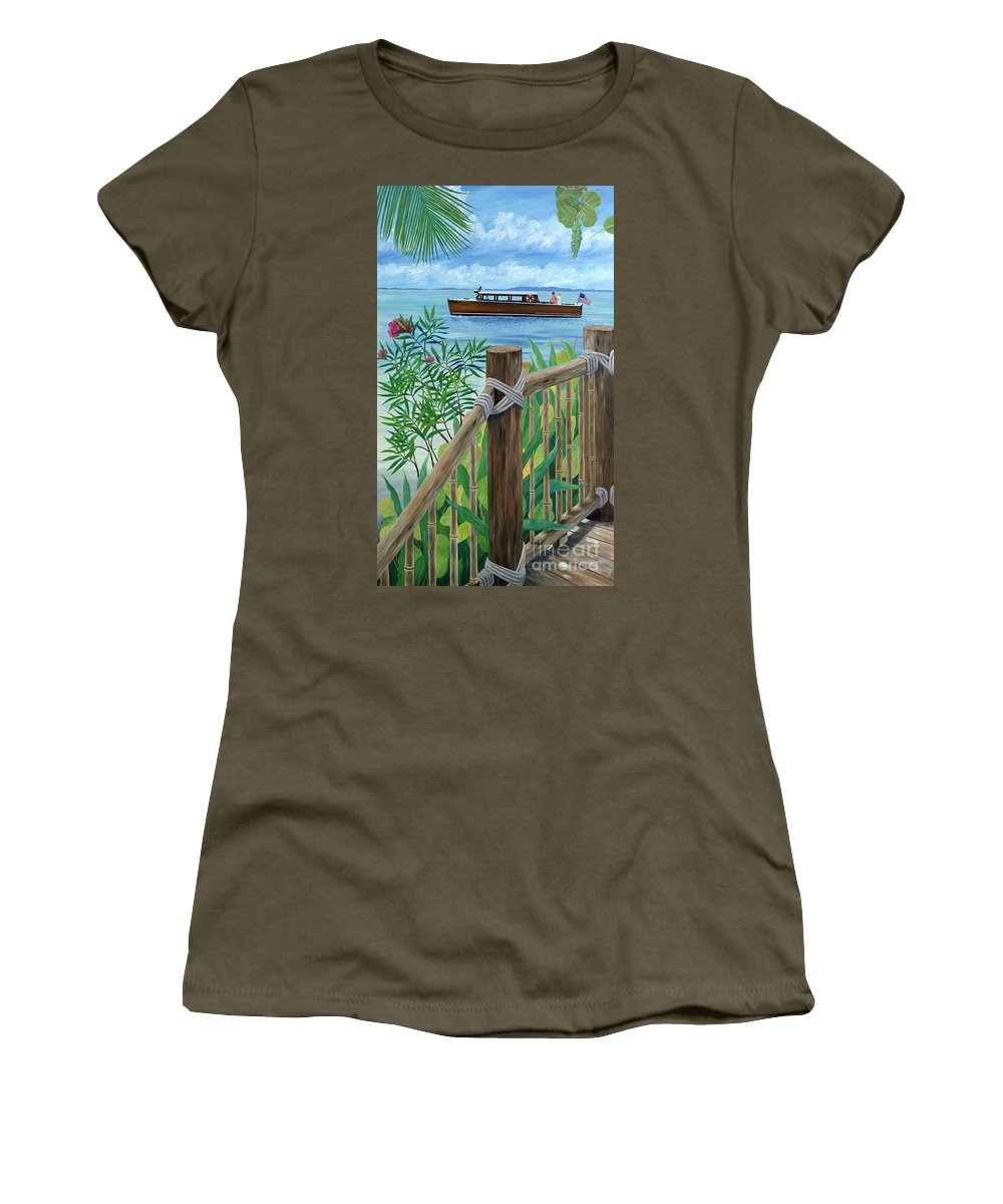 Island Women's T-Shirt (Athletic Fit) featuring the painting Little Palm Island by Danielle Perry