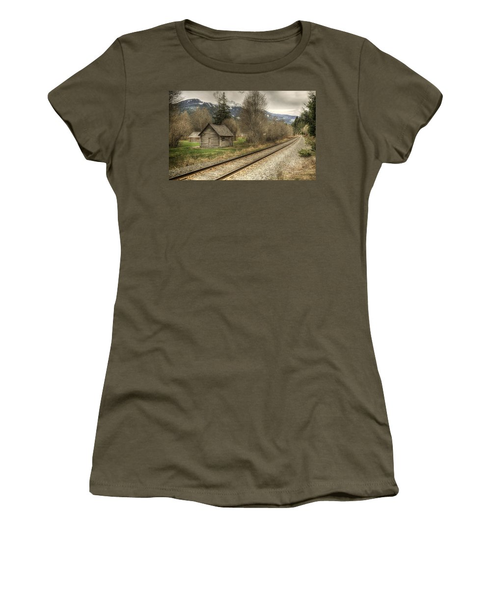 British Columbia Women's T-Shirt featuring the photograph Log Cabin And Railroad Tracks by Claudio Bacinello