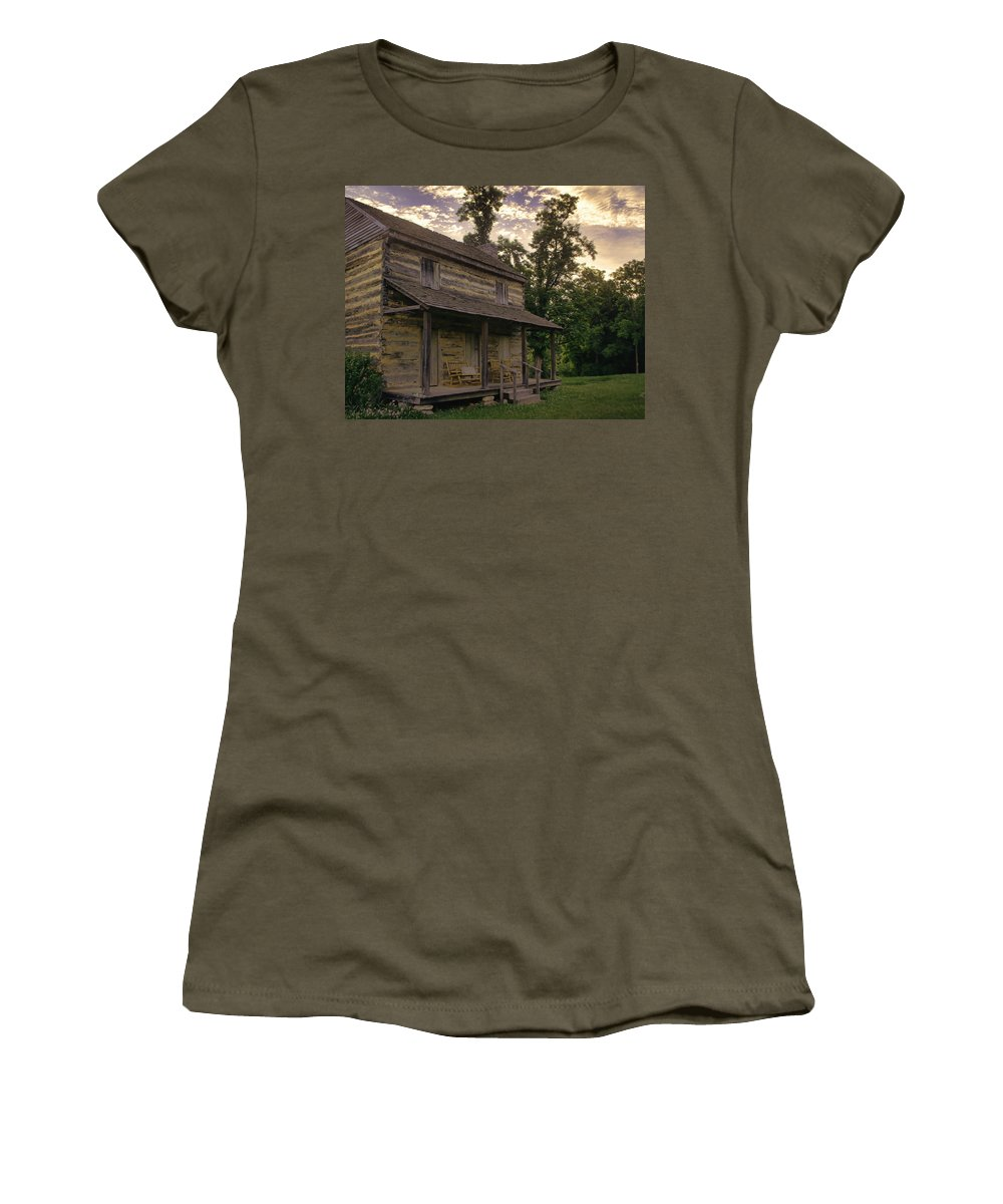 Log Cabin Women's T-Shirt featuring the photograph Log House Dusk by Heather Applegate