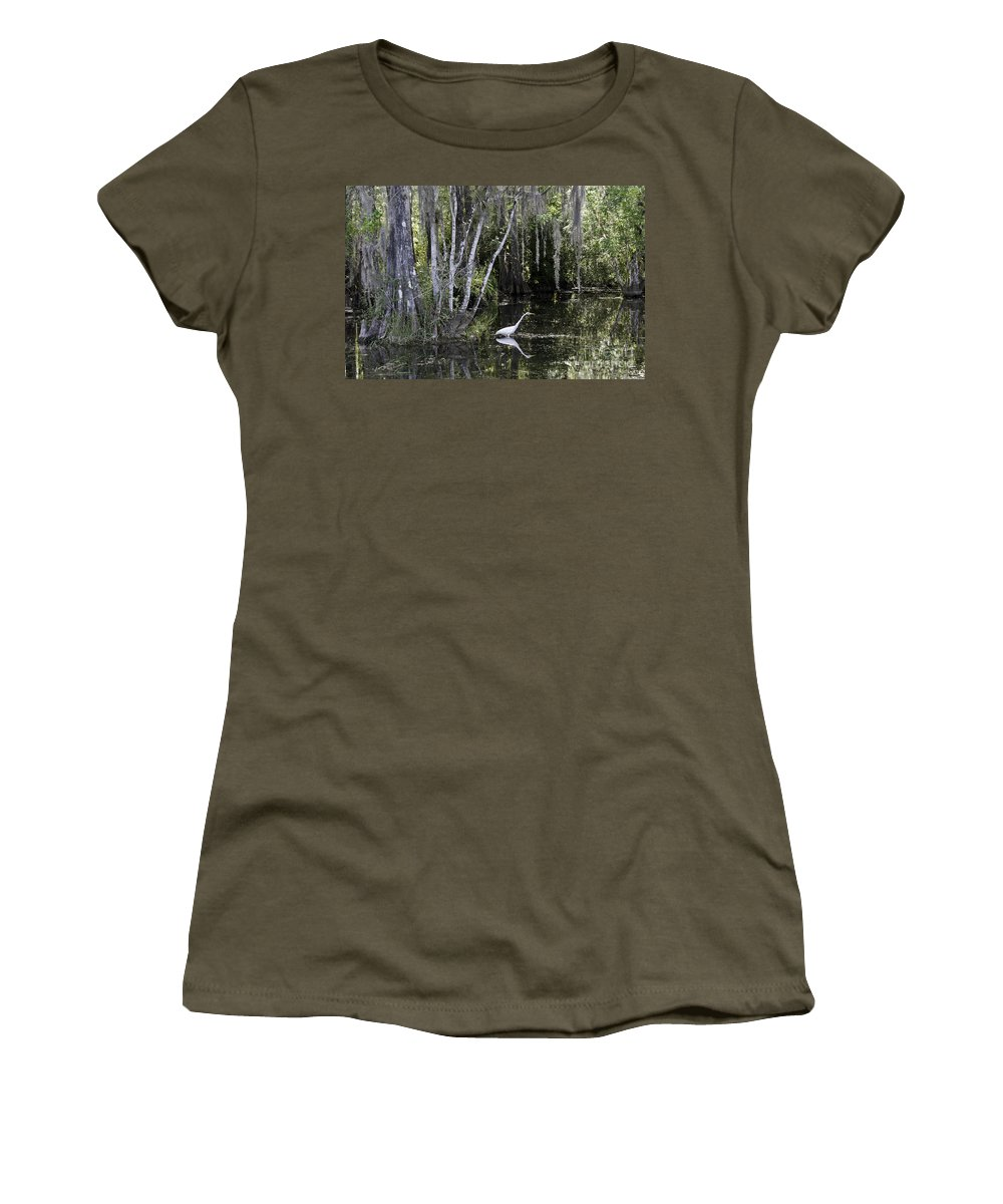 Scenic Women's T-Shirt featuring the photograph Lone Egret by Bruce Bain