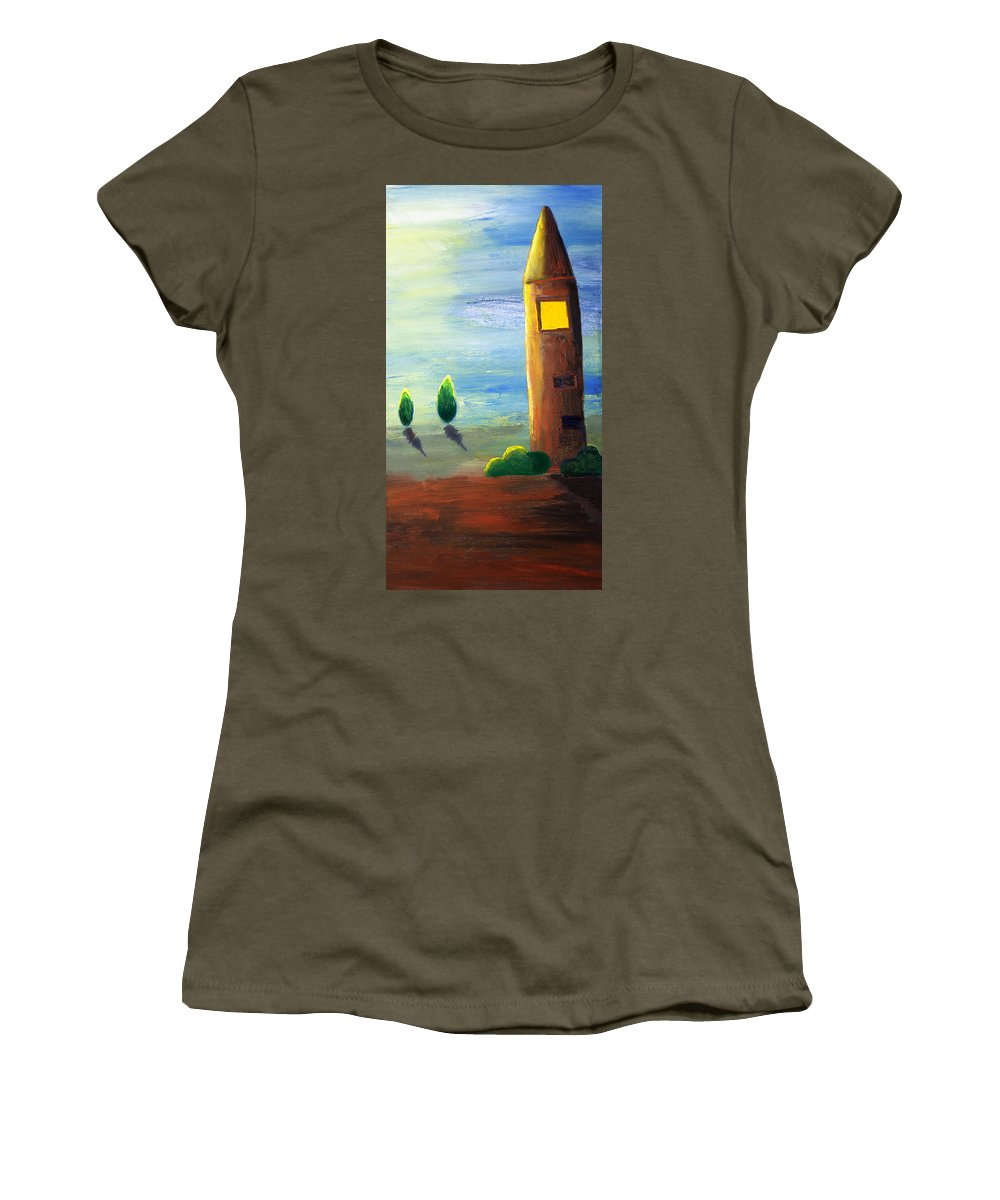 Drawing Women's T-Shirt featuring the painting Lonely Tower by Nirdesha Munasinghe