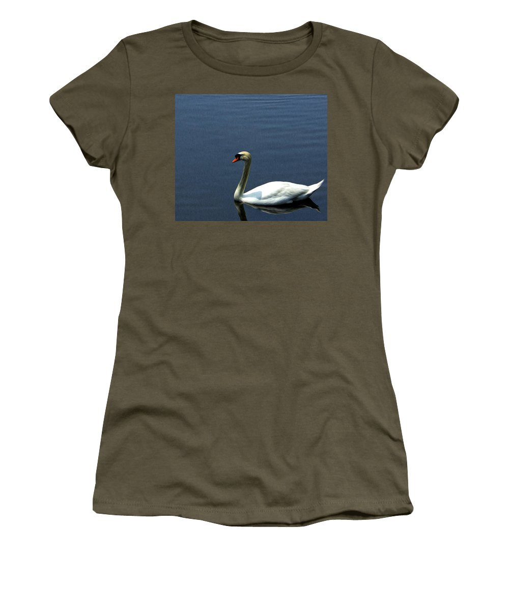 Swan Women's T-Shirt featuring the photograph Lonesome Swan by Jorge Perez - BlueBeardImagery