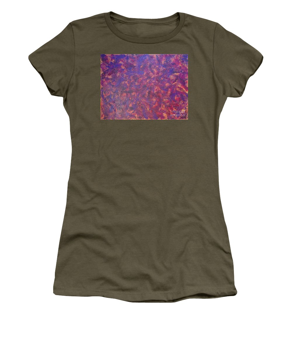 Abstract Women's T-Shirt (Athletic Fit) featuring the painting Long Beach 5am by Dean Triolo