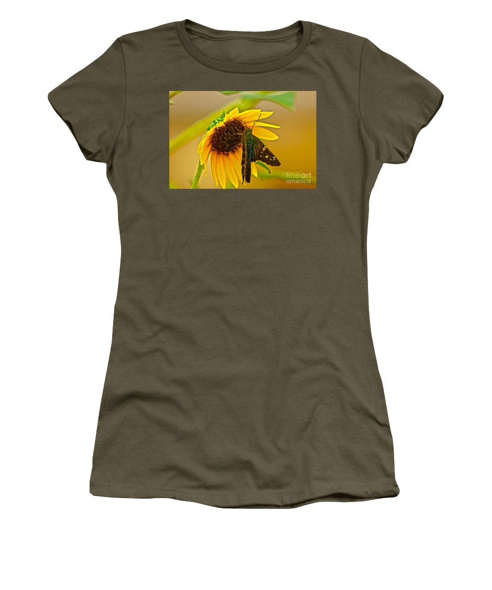 Long-tailed Skipper Women's T-Shirt featuring the photograph Long-tailed Skipper by Kim Pate