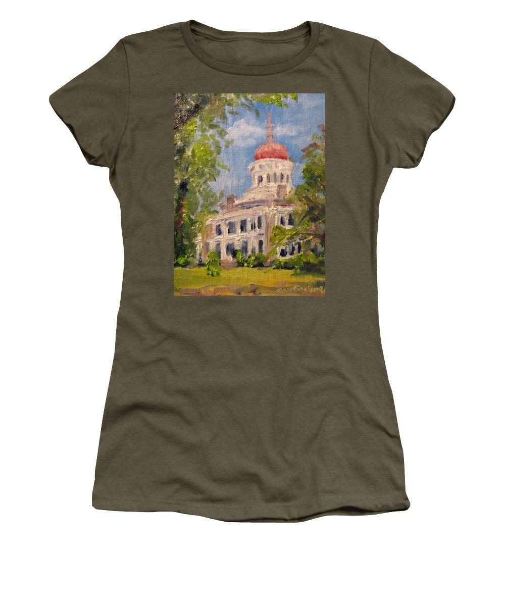Longwood Women's T-Shirt featuring the painting Longwood Natchez Mississippi by Susan Elizabeth Jones