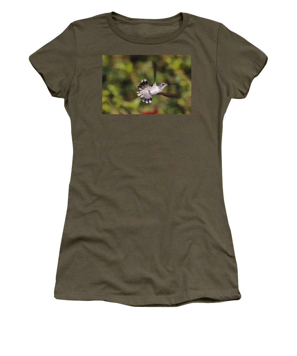 anna's Hummingbird Women's T-Shirt (Athletic Fit) featuring the photograph Look At Meeeeee by Mike Herdering