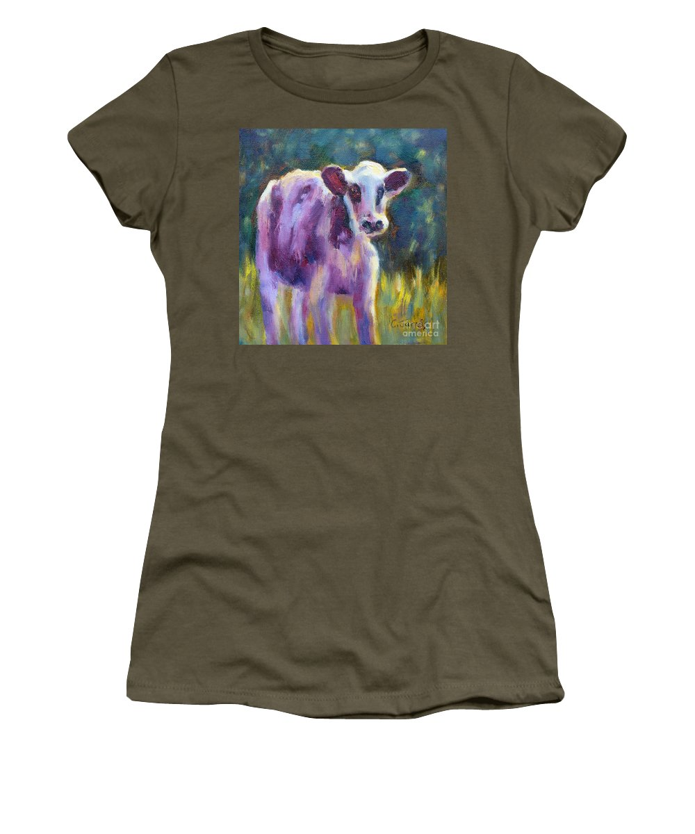 Cow Women's T-Shirt featuring the painting Looking At You by Carolyn Jarvis