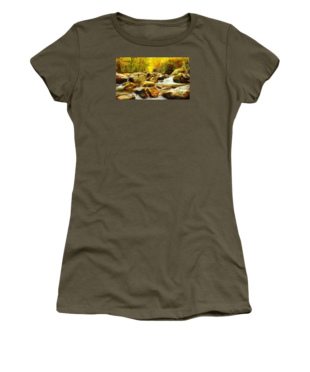 Looking Down Little River In Autumn Women's T-Shirt featuring the painting Looking Down Little River In Autumn by Dan Sproul