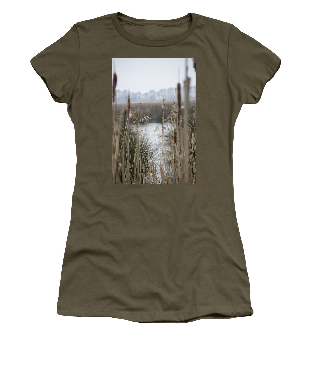 Reeds Women's T-Shirt (Athletic Fit) featuring the photograph Looking Through The Reeds by Spikey Mouse Photography