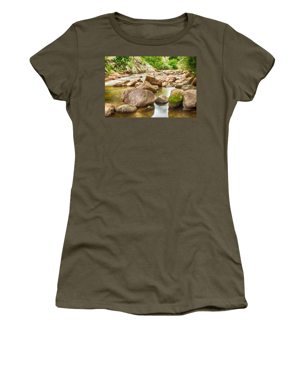 Outdoors Women's T-Shirt featuring the photograph Looking Upstream The Colorado St Vrain River by James BO Insogna