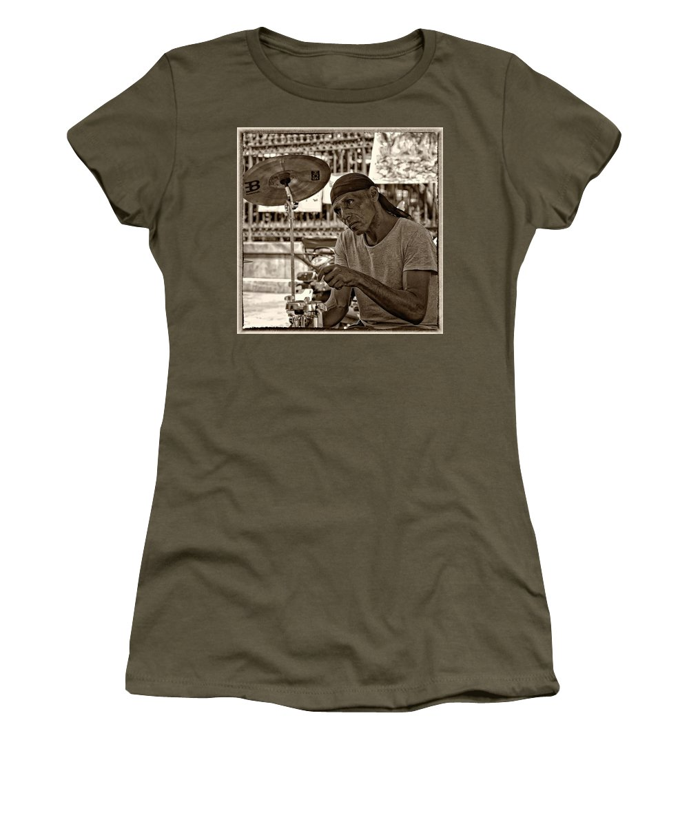 French Quarter Women's T-Shirt featuring the photograph Lost In The Beat Sepia by Steve Harrington