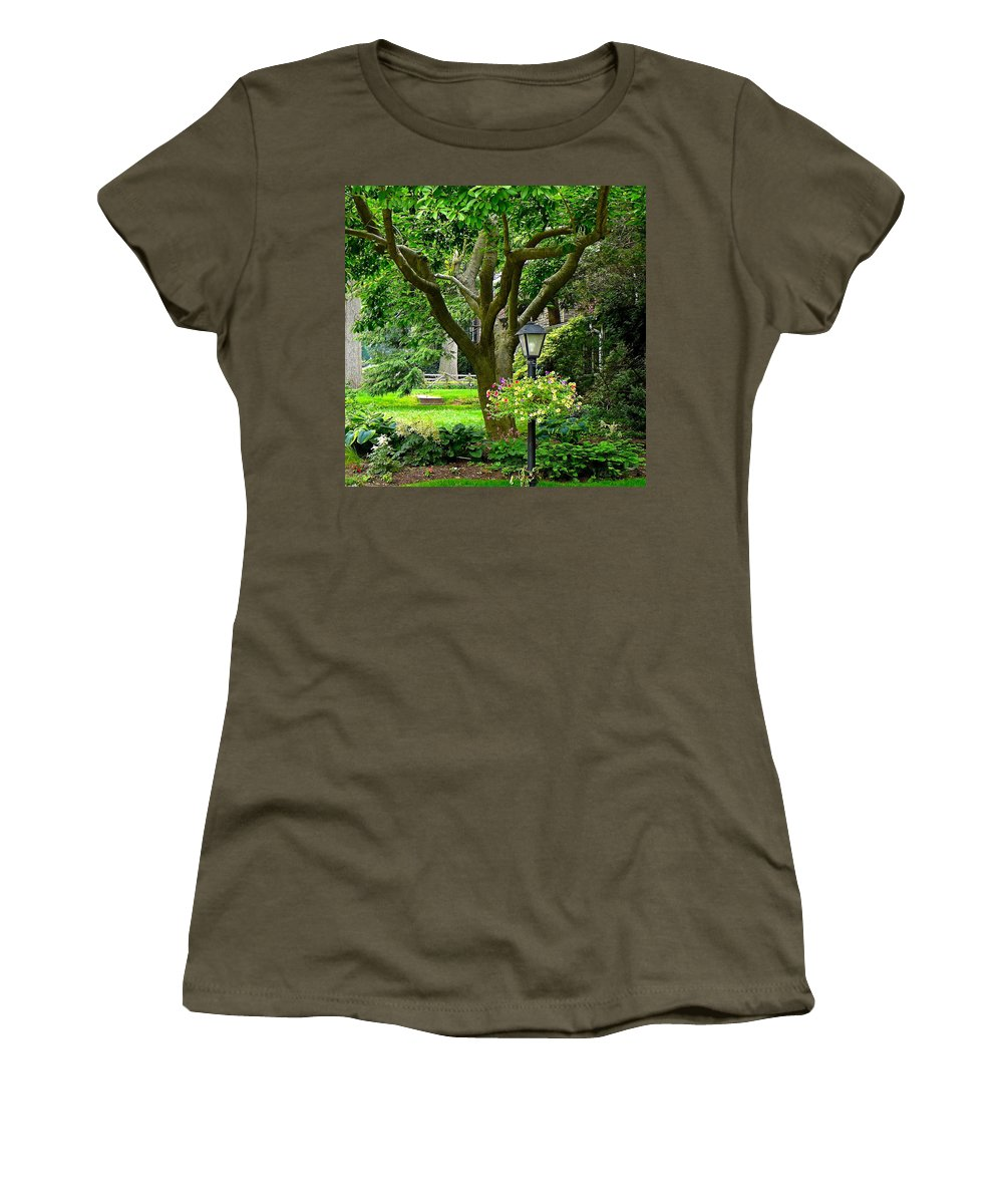Front Yard With Magnolia Tree Women's T-Shirt featuring the photograph Lovely Suburban Front Yard by Byron Varvarigos