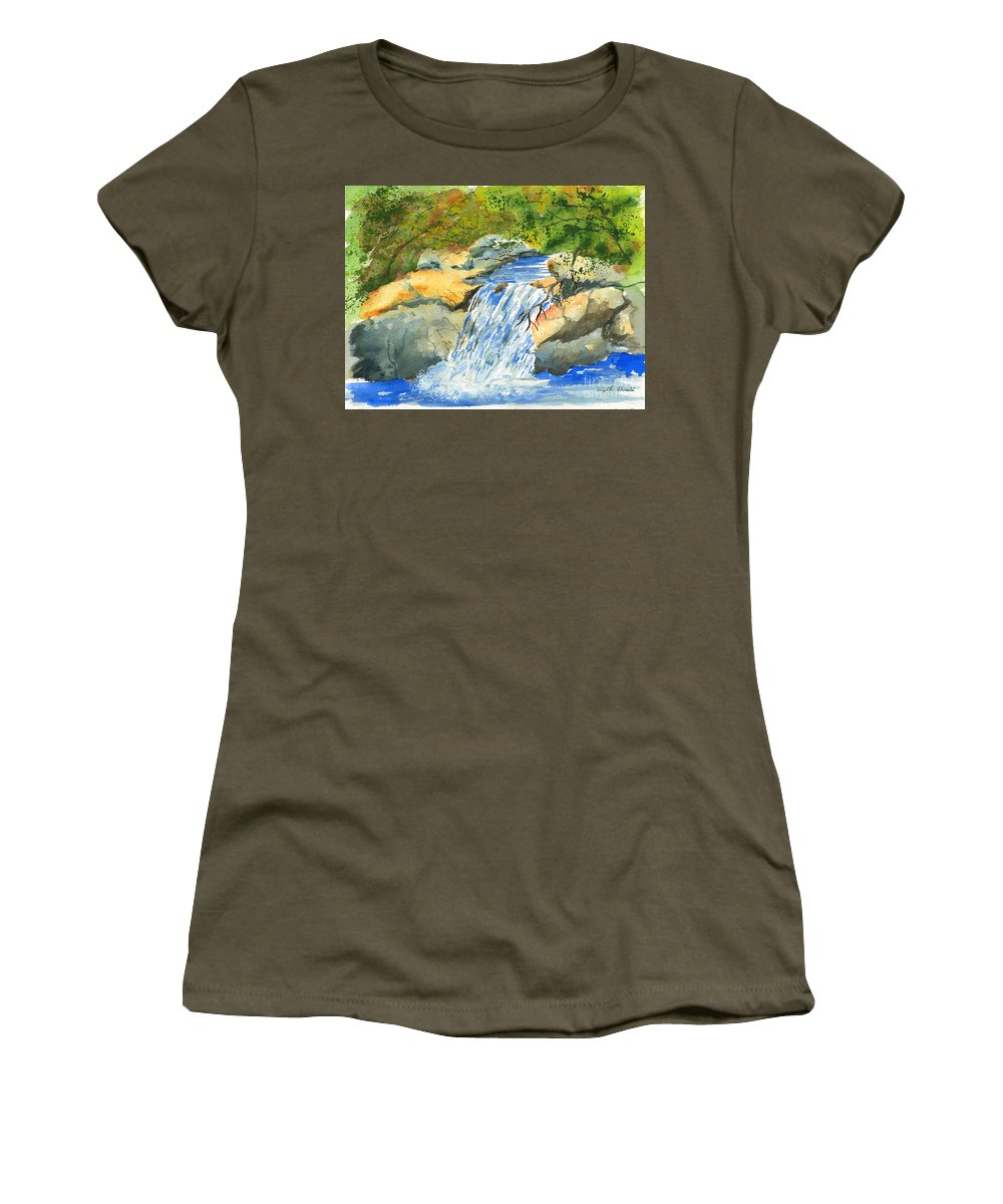 Burch Creek Women's T-Shirt (Athletic Fit) featuring the painting Lower Burch Creek by Walt Brodis