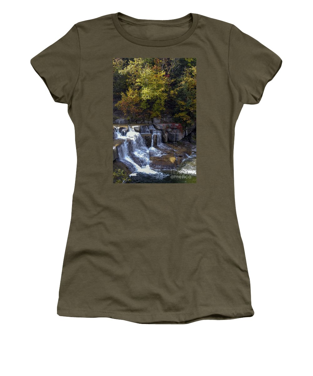 Lower Taughannock Falls State Park Women's T-Shirt featuring the photograph Lower Taughannock Falls by Bob Phillips
