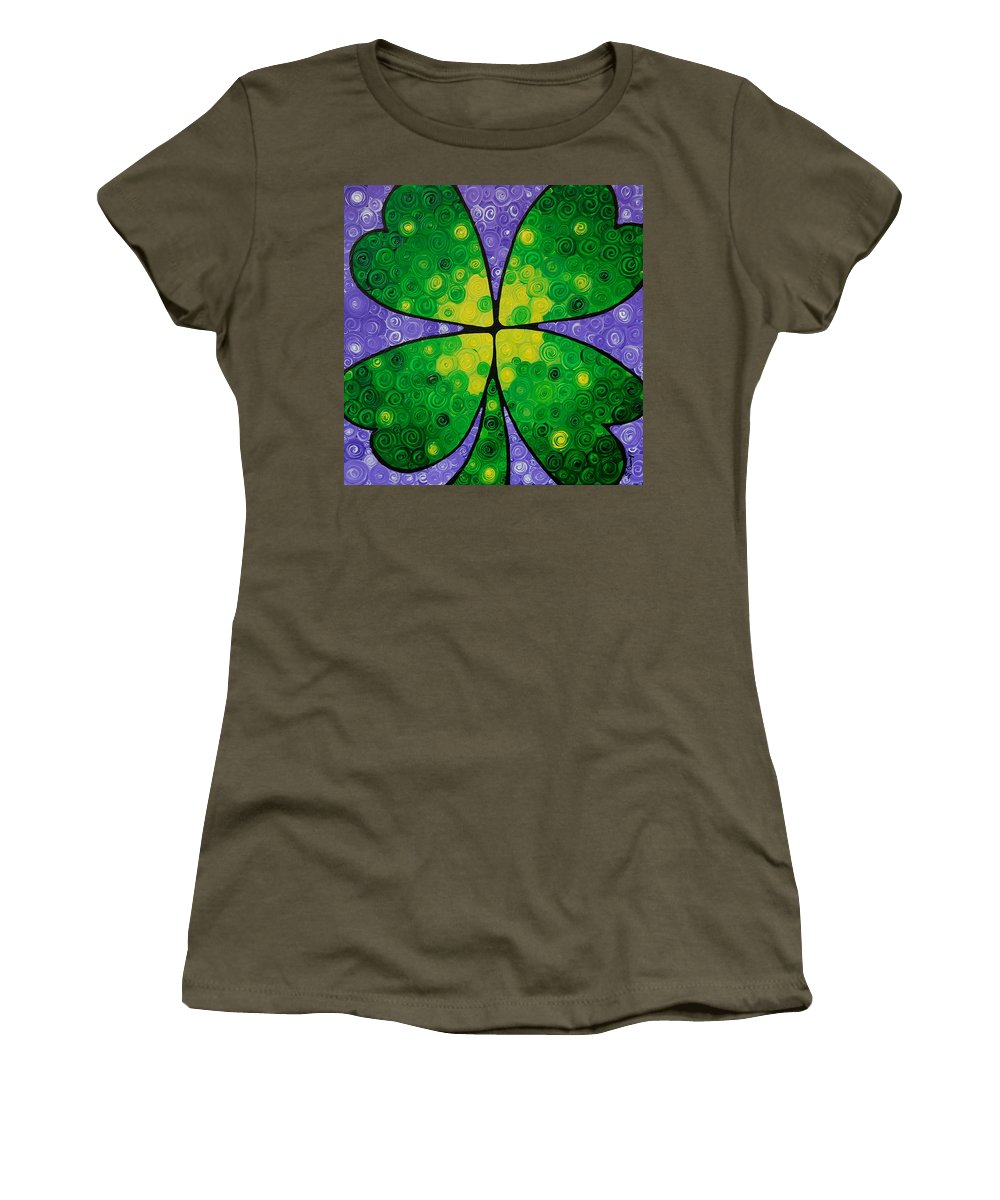 Shamrock Women's T-Shirt (Athletic Fit) featuring the painting Lucky One by Sharon Cummings